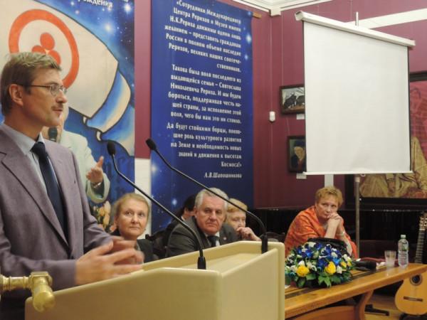 Выступление Павла Михайловича Журавихина, заместителя генерального директора Музея имени Н.К. Рериха на открытии выставки.